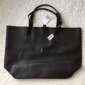 """Saks Fifth Faux Leather Black Tote """"B"""" Letter"""